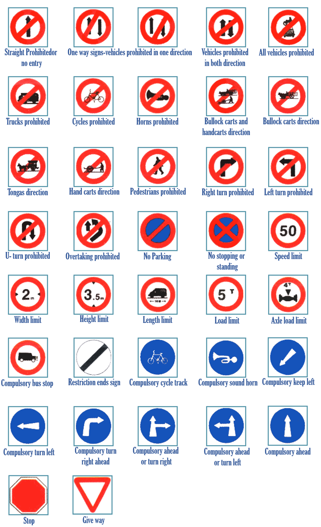 Road safety rules cautionary signs